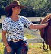 Blusa Malha Crepe Blue Horse Country