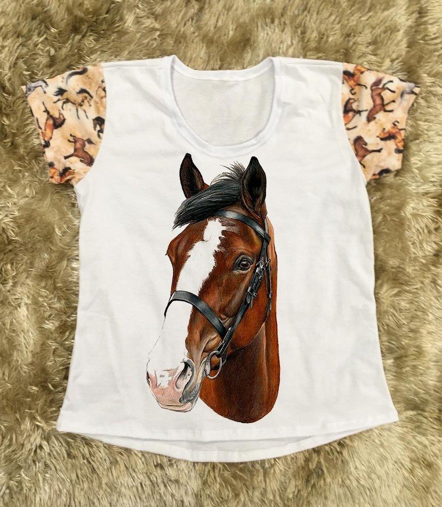 Camiseta Feminina Cavalo Malhado Desenho Manga Estampada Country