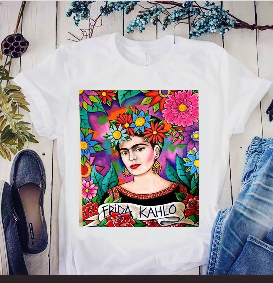d165db415 Camiseta feminina com estampa feminina Frida Kahlo