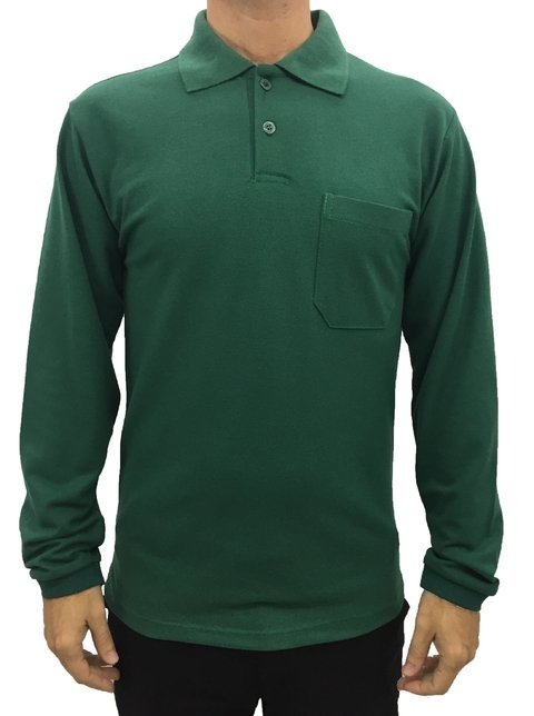 9c95aab69 camisa masculina gola polo básica manga longa lisa com bolso verde escuro