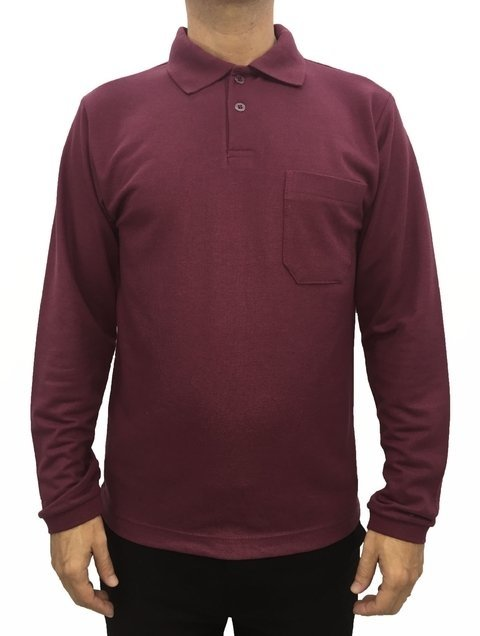 09a110ec0b camisa masculina gola polo básica manga longa lisa com bolso vinho. 0% OFF.  1
