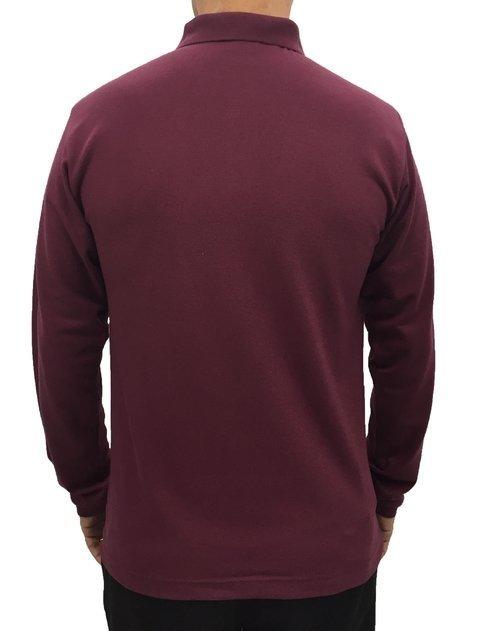 ad31257357 camisa masculina gola polo básica manga longa lisa com bolso vinho