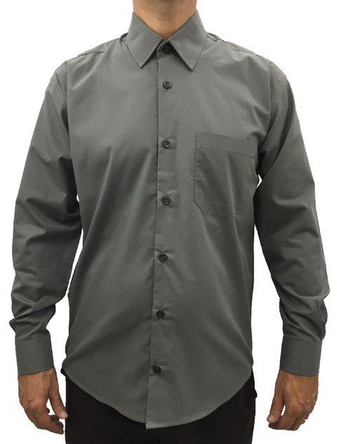 02c7ed7ac4 camisa social masculina manga longa com bolso básica algodão cinza