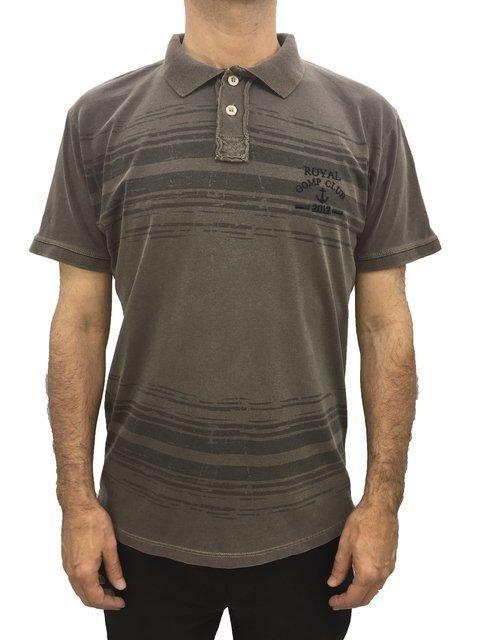 48f6e1c3ef camisa masculina gola polo gomp malha algodão estampada manga curta marrom  101684