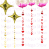 GUIRNALDA P/GLOBOS I LOVE YOU 150 CM