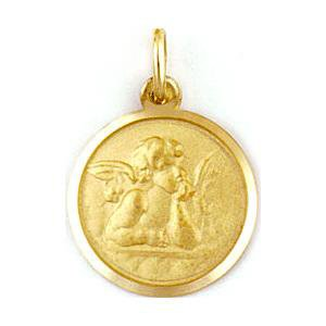 Medalla de oro 18 Kilates Angel De La Guarda 12mm #MED0094