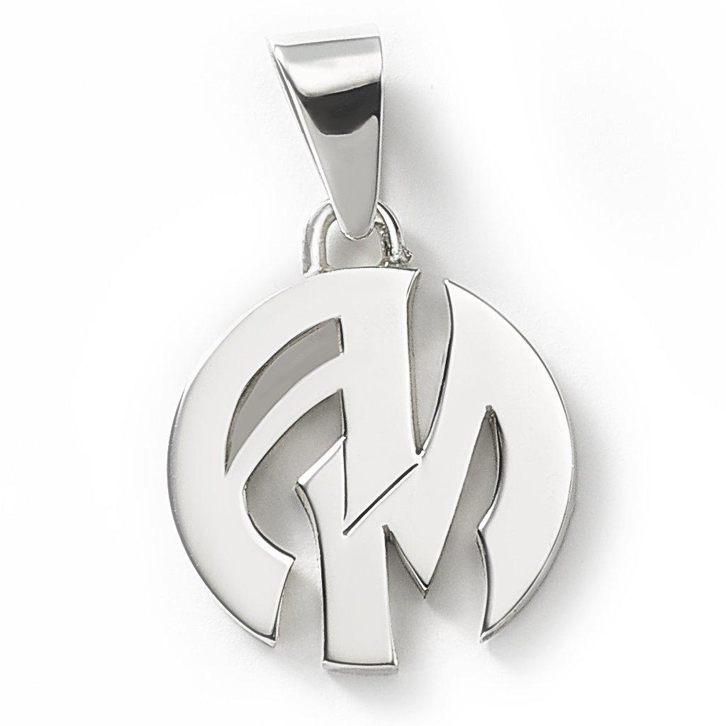 33ecda8053c1 ... Medalla de plata 925 redonda personalizada con dos iniciales grande   MED0153. Oferta