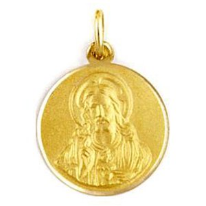 Medalla de oro 18 Kilates Sagrado Corazon 12mm #MED0093