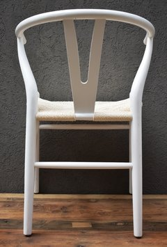 SILLA WISHBONE COLOR BLANCO + RATÁN NATURAL - comprar online