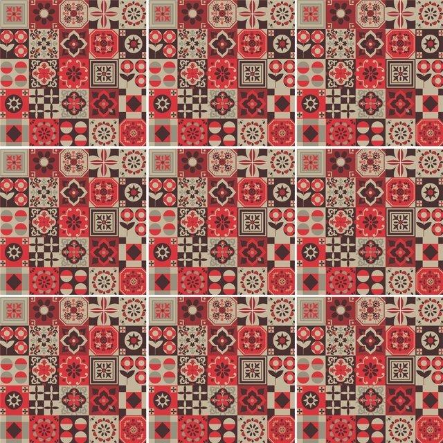 Adesivo de azulejo mosaico vermelho for Azulejo mosaico