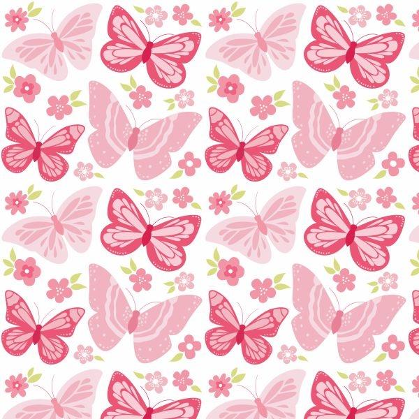 Papel de parede infantil borboletas rosa for Papel para pared infantil