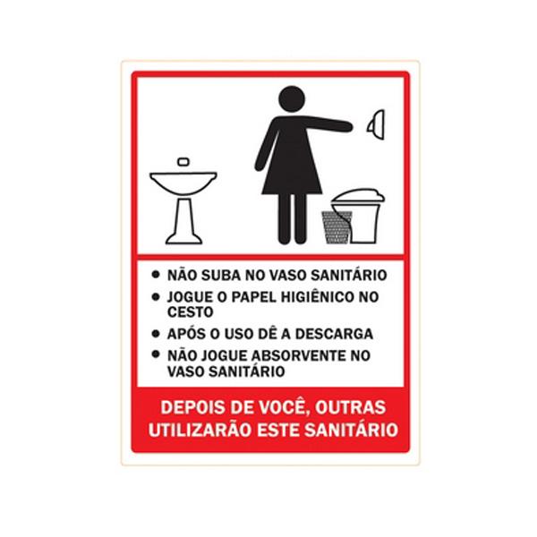 Placa de Sinalização Higiene Banheiro Feminino -> Banheiro Feminino Higiene
