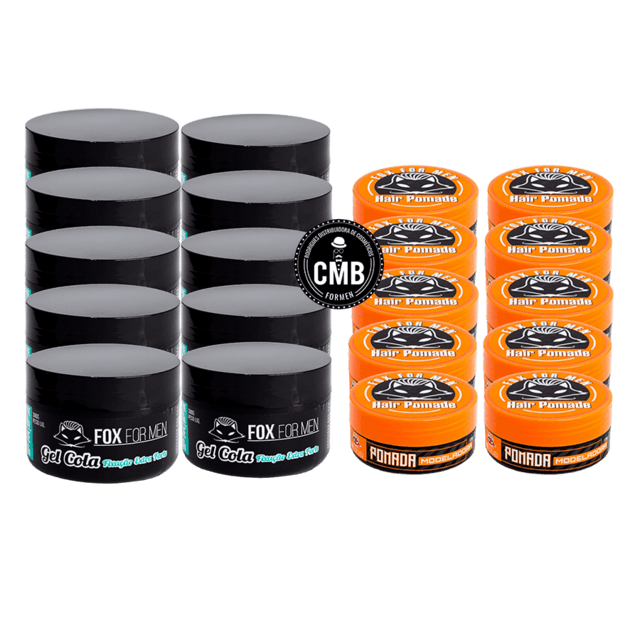 COMBO FOX FOR MEN GEL COLA 10 UN DE 300G + POMADA HAIR 10 UN DE 120G