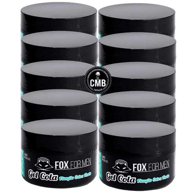 Gel Cola Fixação Extra Forte Fox For Men 10 un de 300g