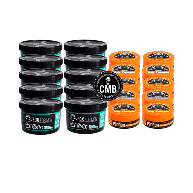 COMBO FOX FOR MEN GEL COLA 10 UN DE 600G + POMADA HAIR 10 UN DE 120G