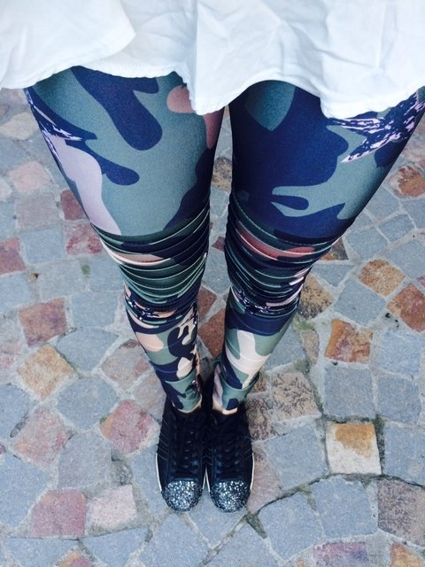 Legging military con alforzas
