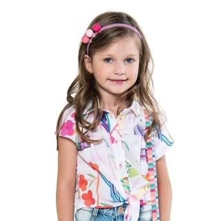 Camisa com amarradinho flores de verão M...