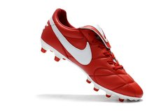 Chuteira Nike Premier 2.0 Couro Campo Original Red-White na internet