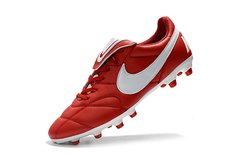Chuteira Nike Premier 2.0 Couro Campo Original Red-White - Sport Shoes