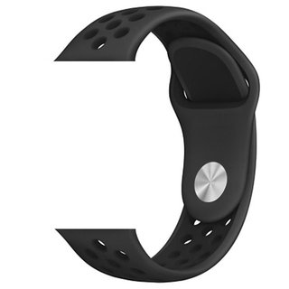 Pulseira Sport Silicone Nk Furo Para Apple Watch 1 2 3 4- 42/44mm - Preto e Preto