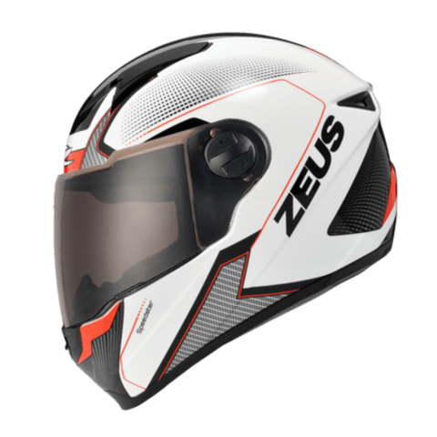 I CAPACETE ZEUS 811 SOLID WHITE AL6 BLACK RED