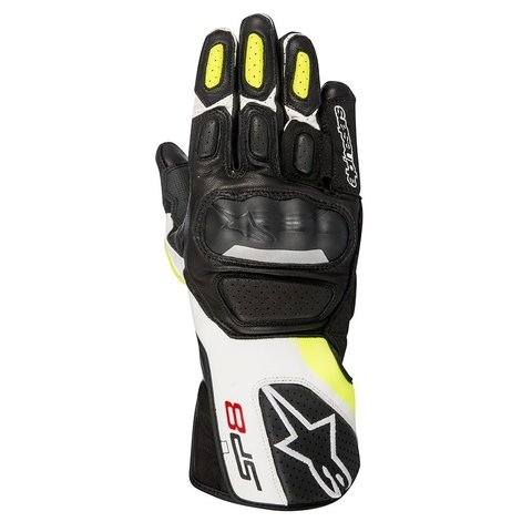LUVAS ALPINESTARS LUVA SP-8 V2 BLACK WHITE YELLOW FLUO
