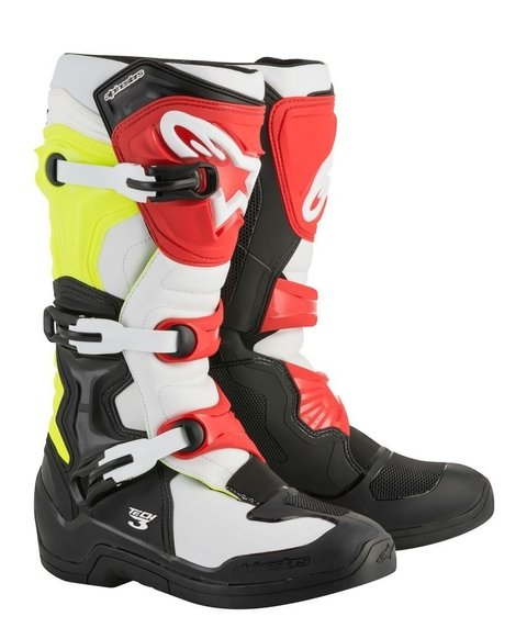 BOTA ALPINESTARS TECH 3 OFF ROAD - BLACK WHITE YELLOW FLUO RED