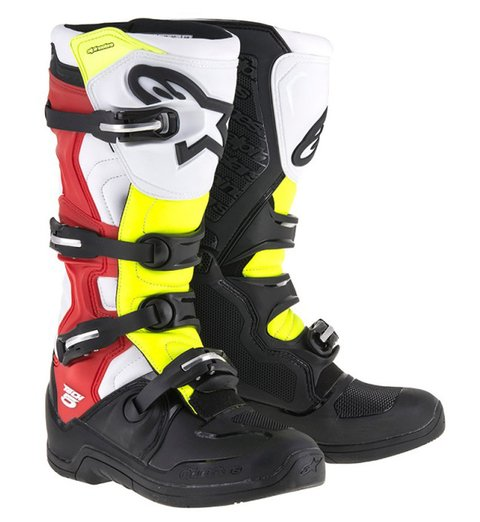 BOTA ALPINESTARS TECH 5 OFF ROAD - BLACK - WHITE - RED - YELLOW