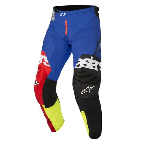 CALÇA ALPINESTARS RACER FLAGSHIP 18 OFF ROAD - RED YELLOW FLUO BLUE