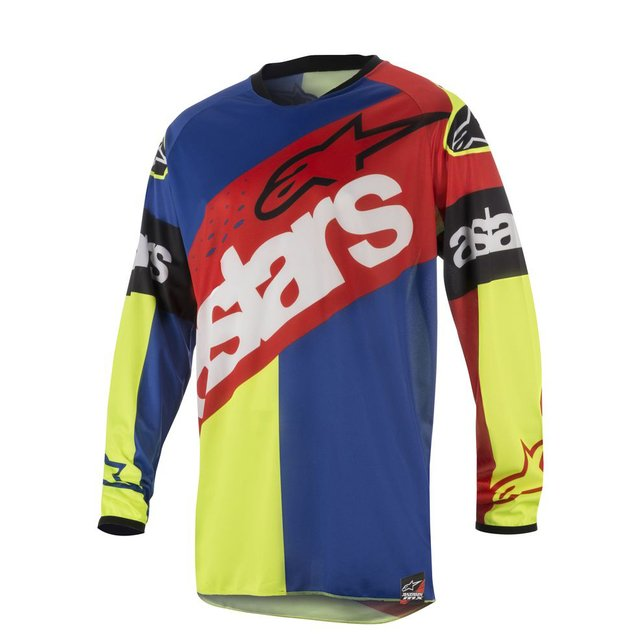 CAMISA ALPINESTARS RACER FLAGSHIP 18 OFF ROAD -  RED YELLOW FLUO BLUE