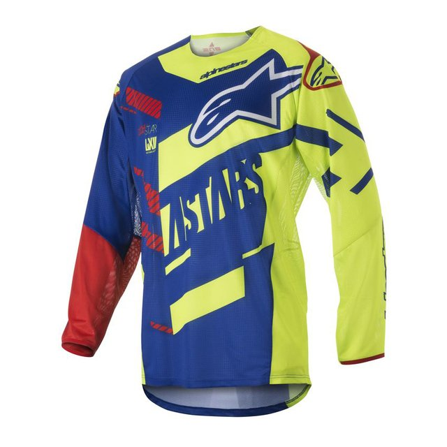 CAMISA ALPINESTARS TECHSTAR SCREAMER 18 OFF ROAD - BLUE YELLOW  FLUO RED