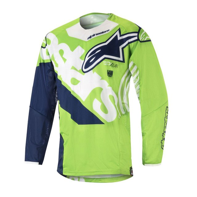 CAMISA ALPINESTARS TECHSTAR VENON 18 OFF ROAD - GREEN FLUO WHITE DARK BLUE