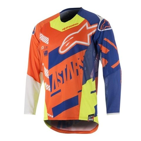 CAMISA ALPINESTARS YOUTH RACER SCREAMER 18 OFF ROAD - ORANGE FLUO BLUE WHITE YELLOW FLUO