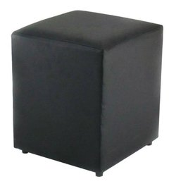 Puff Cubo Courino Preto Adulto