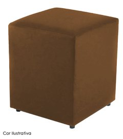 Puff Cubo Suede Marrom Adulto