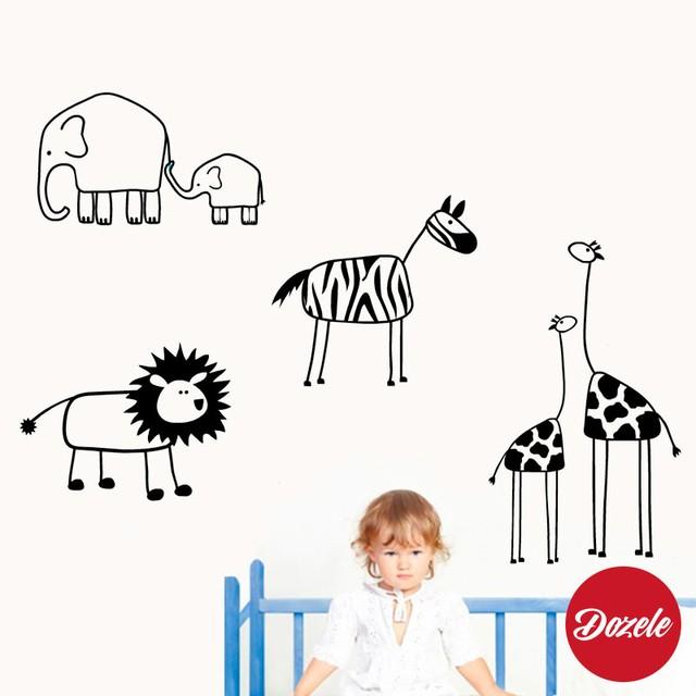 vinilos decorativos infantiles cebra leon jirafa elefante