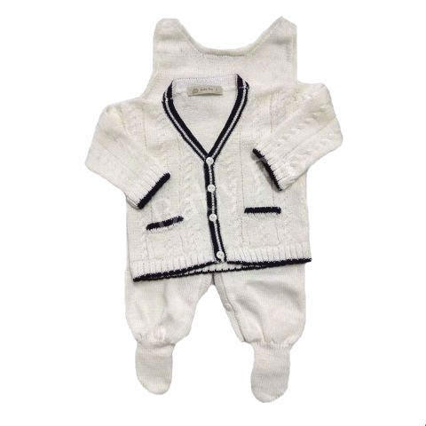 Conjunto Baby Classic Branco/Naval - Baby Fio Tricot Infantil