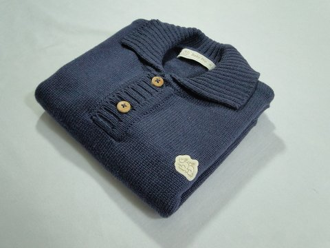 Polo Baby Fio Naval - Baby Fio Tricot Infantil