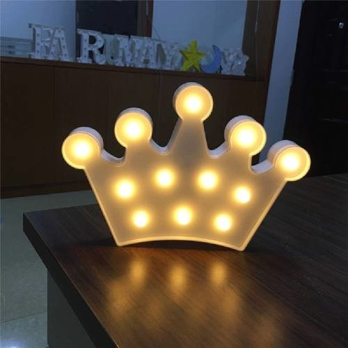 Corona Cartel Luminoso Luz Letras Color Dormitorio Led Luces