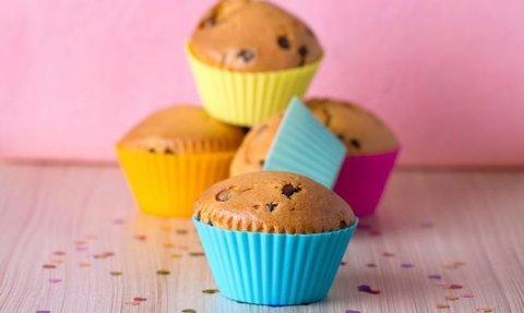 12 Moldes Muffins Silicona Individual Cupcakes Reposteria