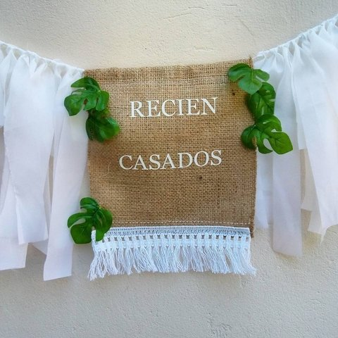 Banderin RECIÈN CASADOS monstera