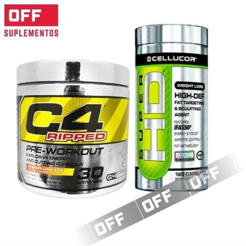 C4 RIPPED x 180 GRS. (30 SERVICIOS) + SUPER HD x 120 CAPS - CELLUCOR
