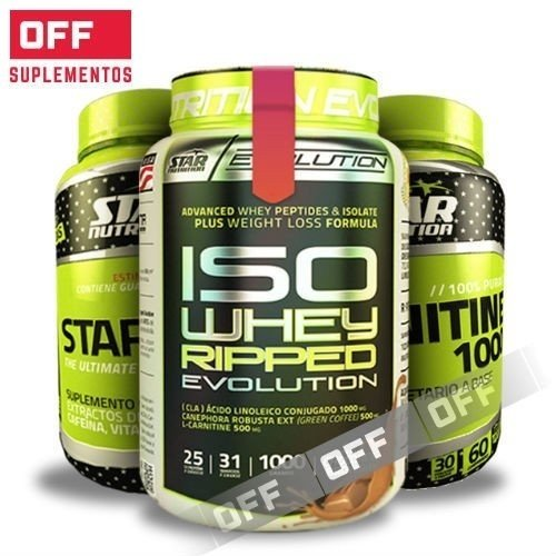PACK DEFINICIÓN - STARCUTS - 120 CAPS + L-CARNITINE 1000 - 60 CAPS + ISO WHEY RIPPED - 1 KG - STAR NUTRITION