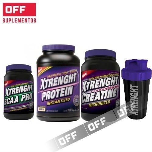 PACK ENTRENAMIENTO - XTRENGHT PROTEIN - 1 KG + XTRENGHT CREATINA - 250 GRS + XTRENGHT BCAA PRO - 120 CAPSULAS + SHAKER!!! - XTRENGHT NUTRITION