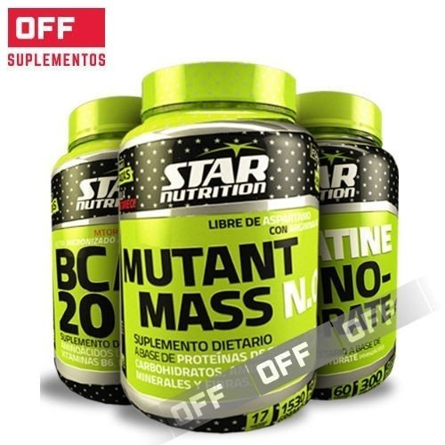 PACK FUERZA Y MASA - BCAA 2000 - 120 CAPS + CREATINE MONOHIDRATO - 300 GRS + MUTANT MASS - 1,5 KG - STAR NUTRITION