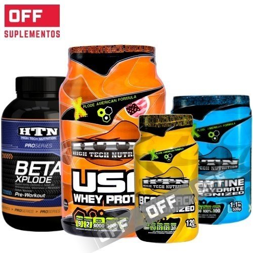 PACK RENDIMIENTO: WHEY PROTEIN 1 KG + BCAA PACK 120CAPS + CREATINA 500GRS + BETA XPLODE - HTN