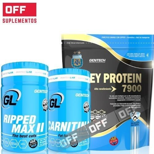 WHEY PROTEIN 7900 2KG + RIPPED MAX 240CAPS + CARNITINA 180CAPS + 2 SHAKER - GENTECH