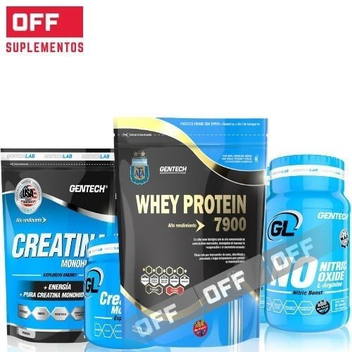 WHEY PROTEIN 7900  2KG + N.O  180CAPS + CREATINA  1000GRS + 2 SHAKER - GENTECH
