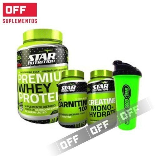 PACK RECUPERACIÓN - WHEY PROTEIN 1KG + CARNITINA 1000 + CREATINA 300GRS + SHAKER GRATIS - STAR NUTRITION