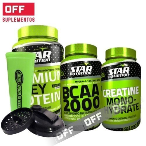 PACK RENDIMIENTO - PREMIUM WHEY PROTEIN 1KG + BCAA 2000 120CAPS + CREATINA 300GRS + SHAKER GRATIS - STAR NUTRITION